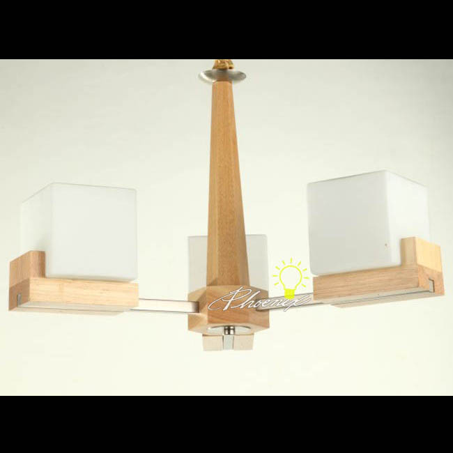 Modern Wood And Square Glass Shades Chandelier 7531