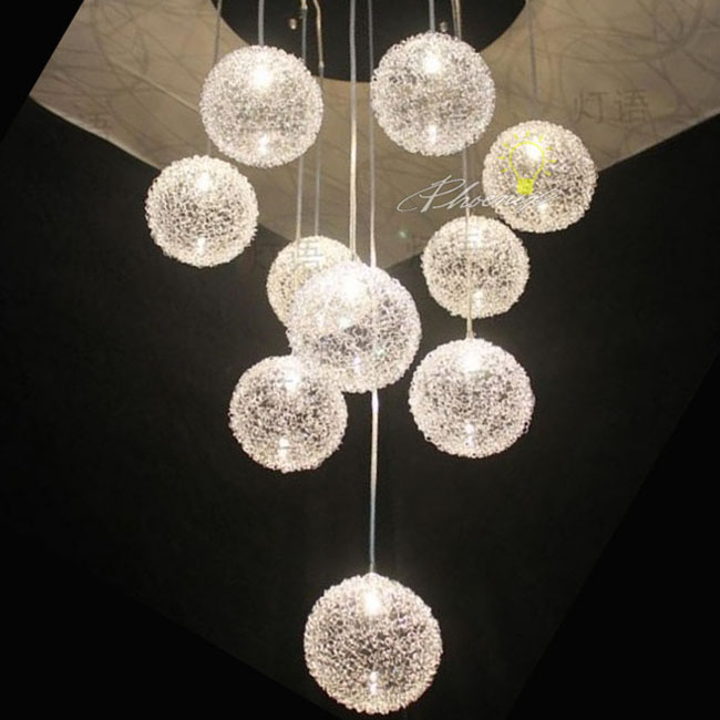 Aluminium wire weaven ball pendant lighting in stainless Finish