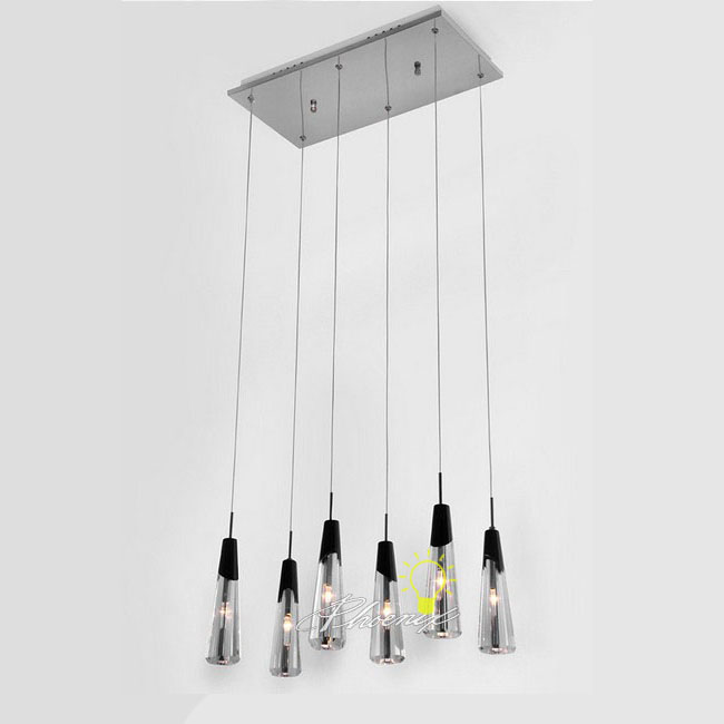 6 Drops Black and White Crystal Pendant Lighting 7705