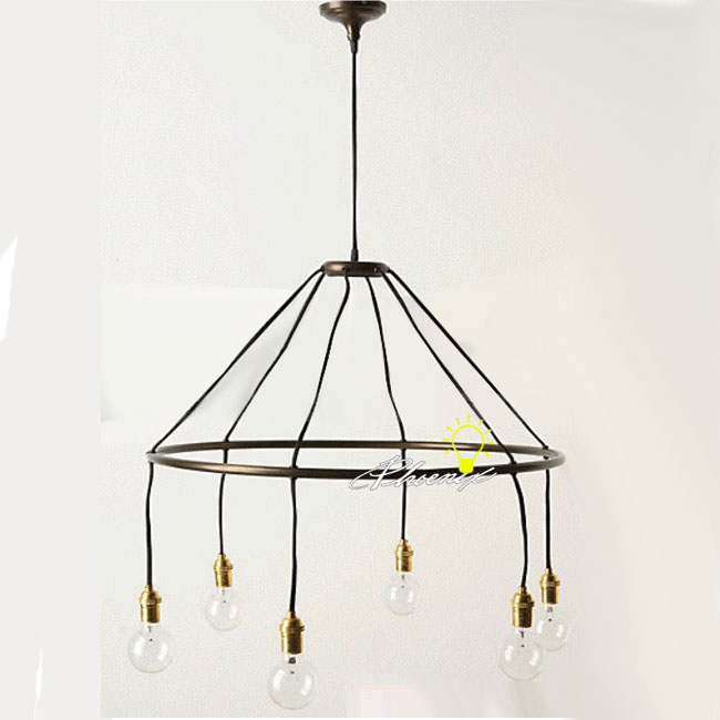 Antique 6 Edison Bulbs Pendant Lighting in Matte Finish 7904