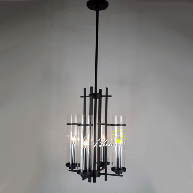 4 Modern Clear Glass Shades Iron Pendant Lighting 7920