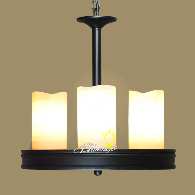 3 Candle and Iron Art Pendant Lighting in Painted Finish 7945