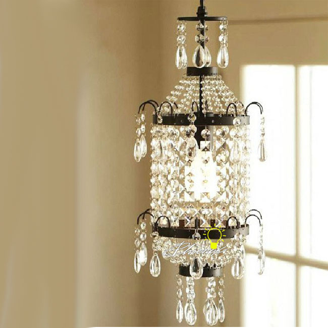 Antique Country Crystal and Iron Pendant Lighting 7953