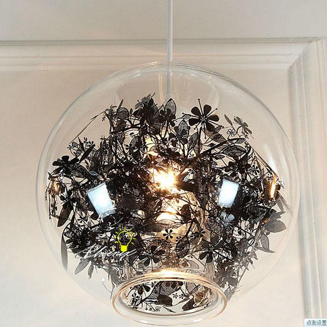 Clear Glass Shade Metal Flower Inside Pendant Lighting
