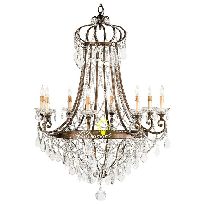 Antique Copper and K9 Crystal Chandelier in Baking Finish 8259 - Antique Copper And Marble Shades Chandelier : Browse Project