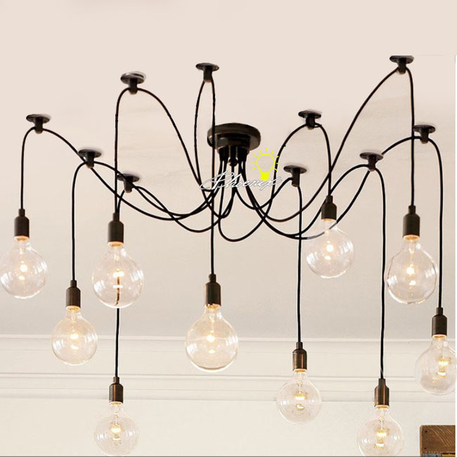 Antique 10 Edison Big Bulbs Pendant Lighting 8839