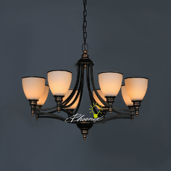 Antique Metal and Depolished Glass Chandelier 4727