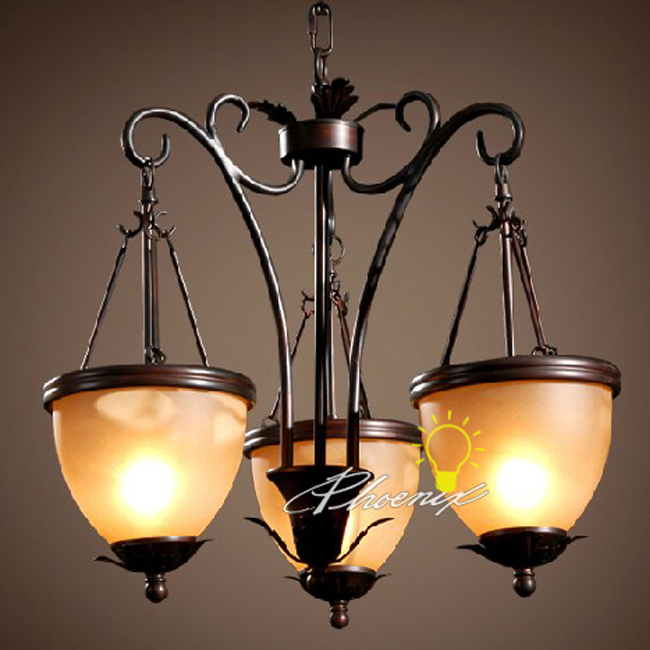 Antique 3 Iron Pinecore Shades Chandelier 7467