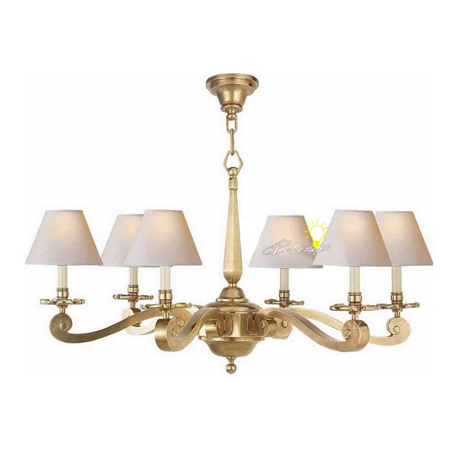 Anrtique Harbor House Copper and 6 Fabric Shades Chandelier 8736