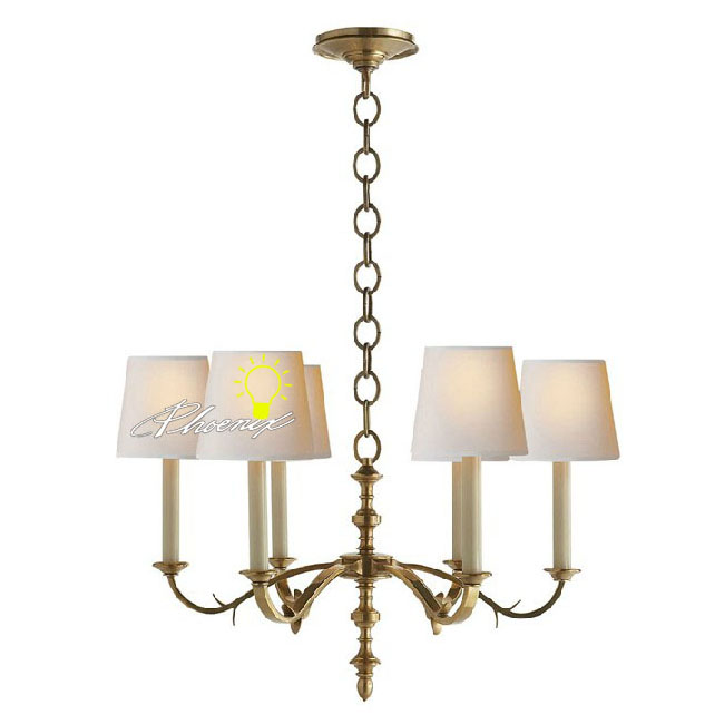 Anrique 6/8 Fabric shades Copper Chandelier 8780