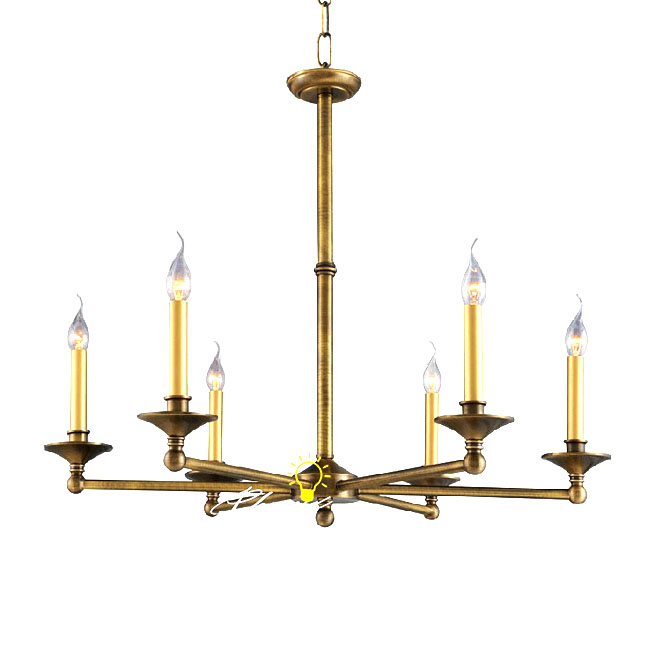 Antique 6 Chandles Copper Chandelier in Brushed Finish 8787