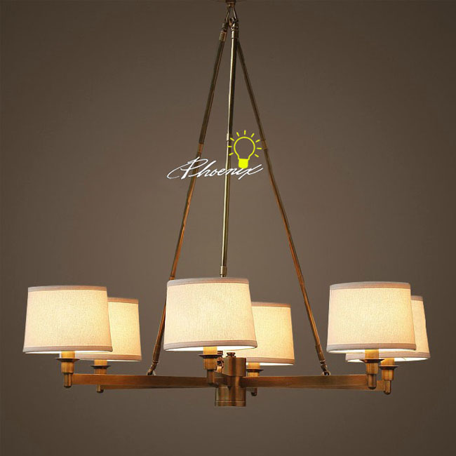 Antique 6 Fabric shades and Copper Chandelier 8848