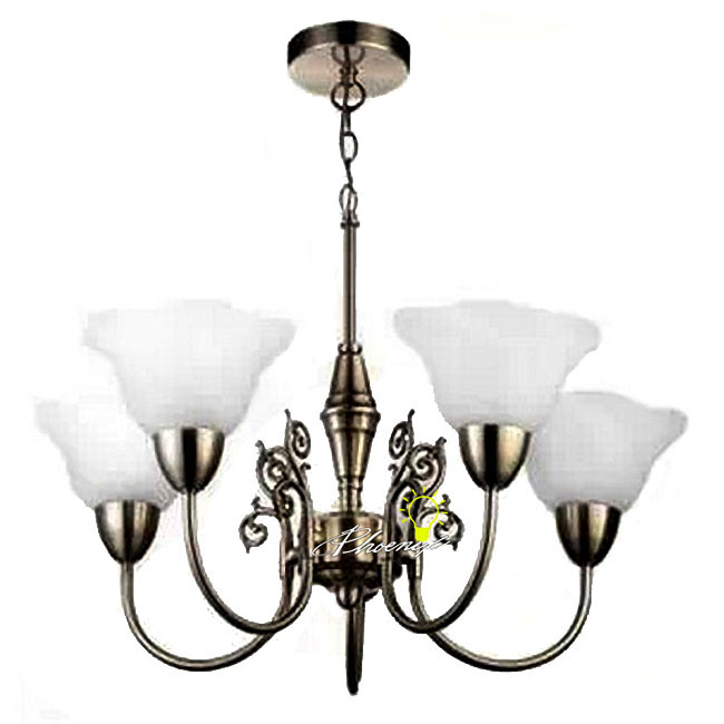 Antique Brushed Nickel 5 White Glass Shades Chandelier 8980