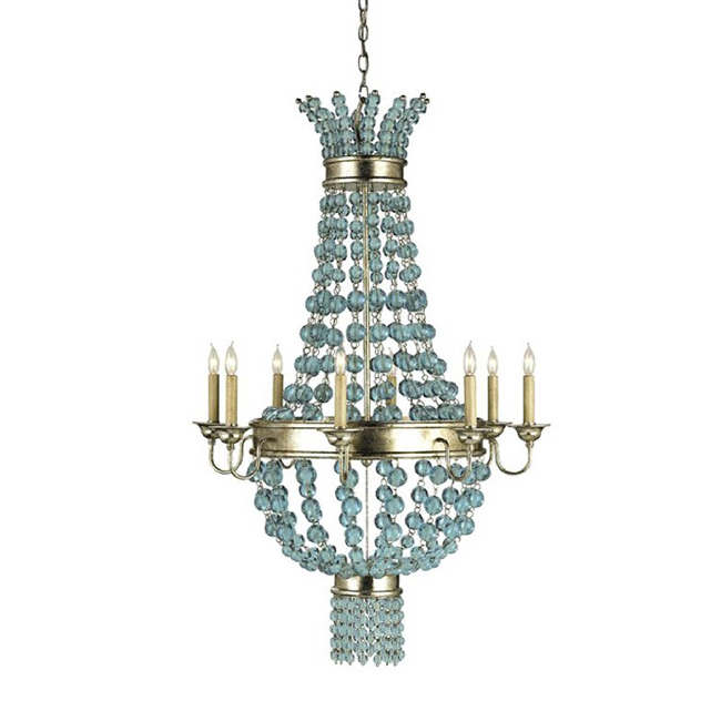 Antique Blue Crystal and metal Chandelier 9113