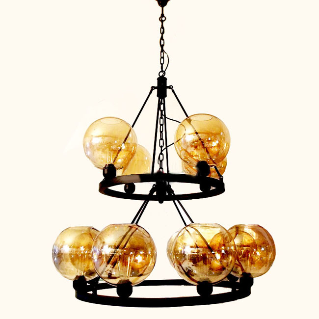 Antique Amber Glass and metal Chandelier 9225