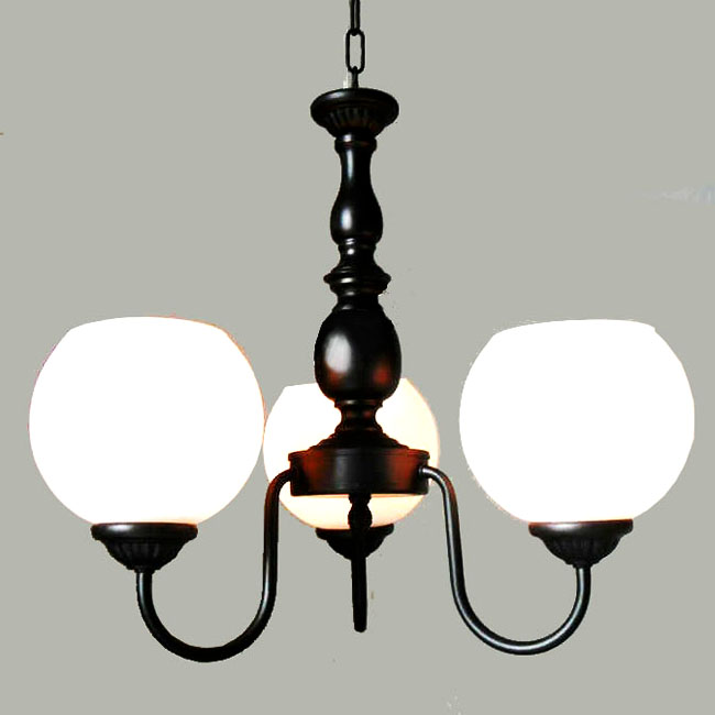 Antique 3 Orb White Glass Shades Chandelier 9934