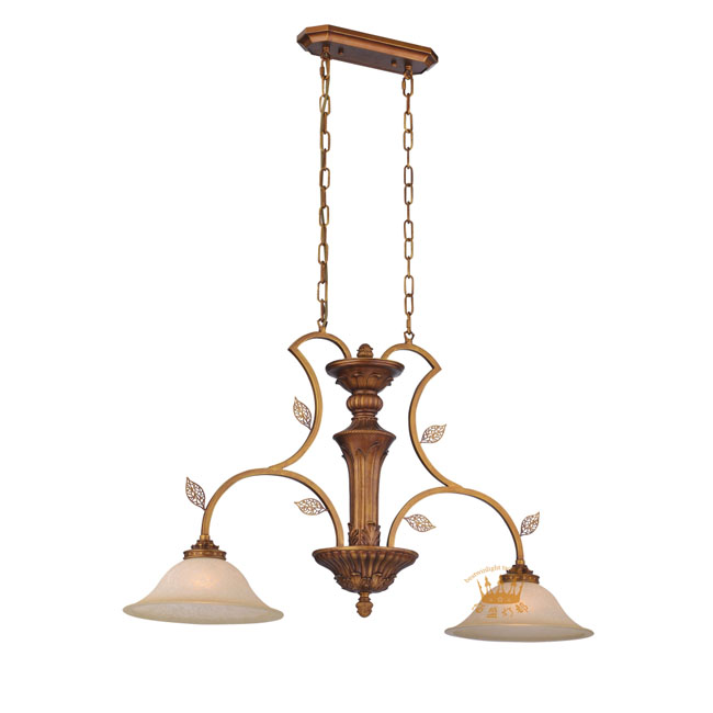 Antique Copper 2 Marble Shades Chandelier 10137
