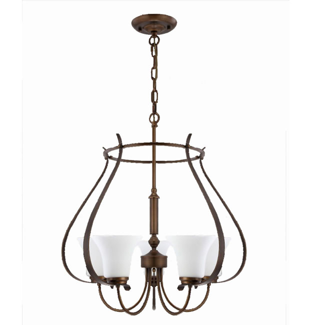 Antique 5 Marble Shades Iron Chandelier 10139