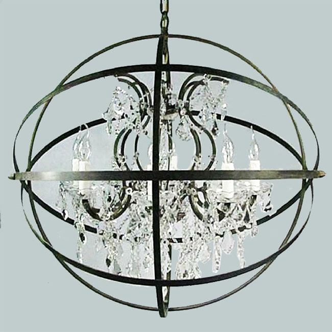 LOFT Country Crystal And Iron Orb Chandelier 10161