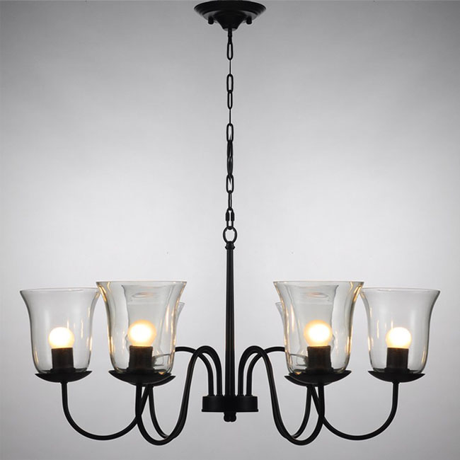 Northic Country 6 Clear Gl Shades Iron Chandelier 10344