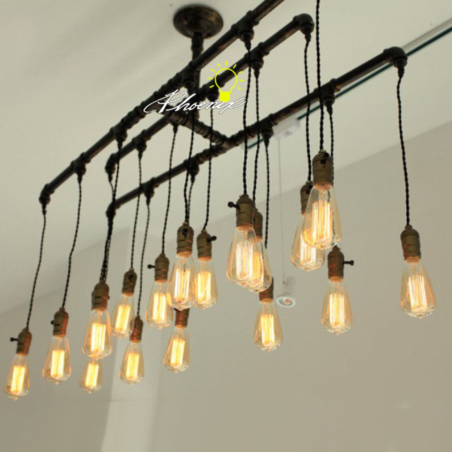 Handmade Pipe And Edison Bulbs Chandelier 8823 Browse