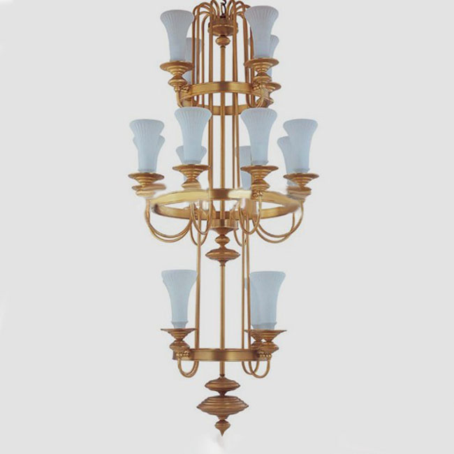 Antique Complete Copper and White Glass Shades Chandelier 10536
