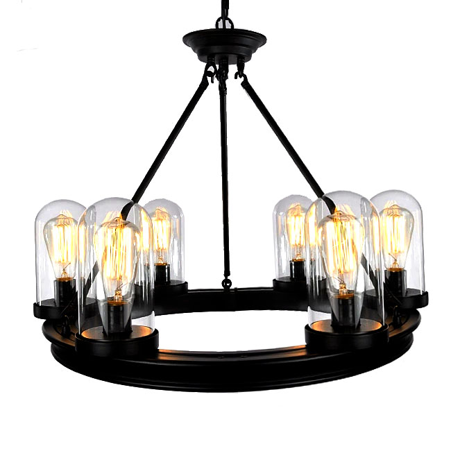 Modern Industrial Gun Black Blown Glass Shades Chandelier 7308 – Modern Industrial Chandelier