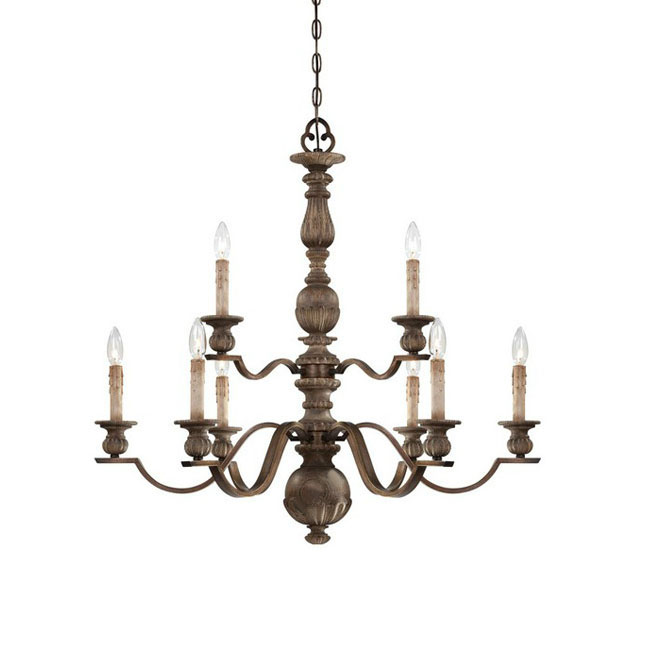 LOFT Antique Wood and Iron Chandelier in Baking Finish 7329 – Wood Iron Chandelier
