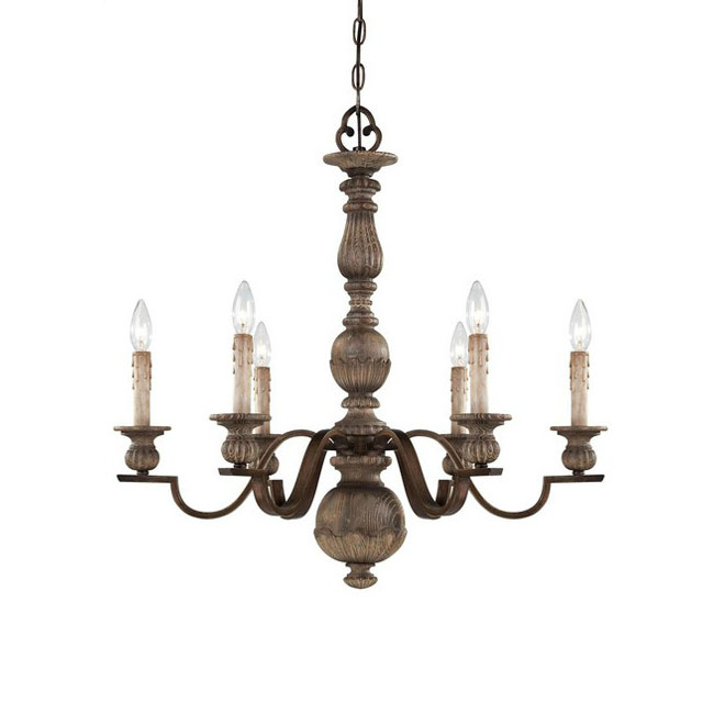 - LOFT Antique Wood And Iron Chandelier In Baking Finish 7329