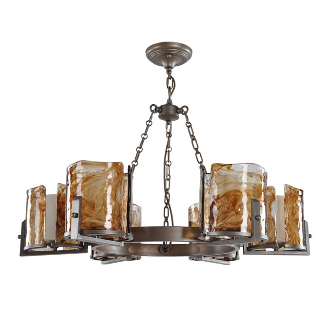 Antique Blown Smoke Glass 2 Layers Shades Chandelier 11306