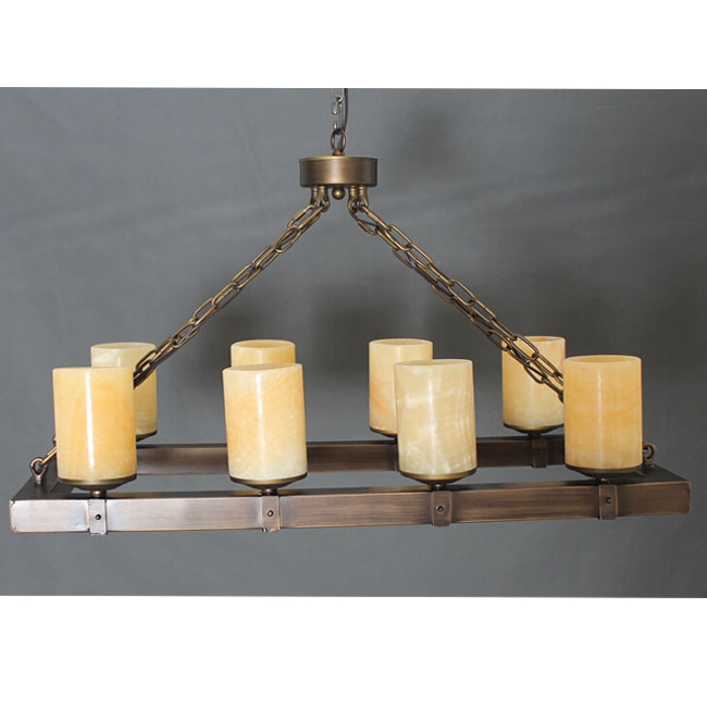 Antique Marble Shade And Wood Frame Chandelier 11392