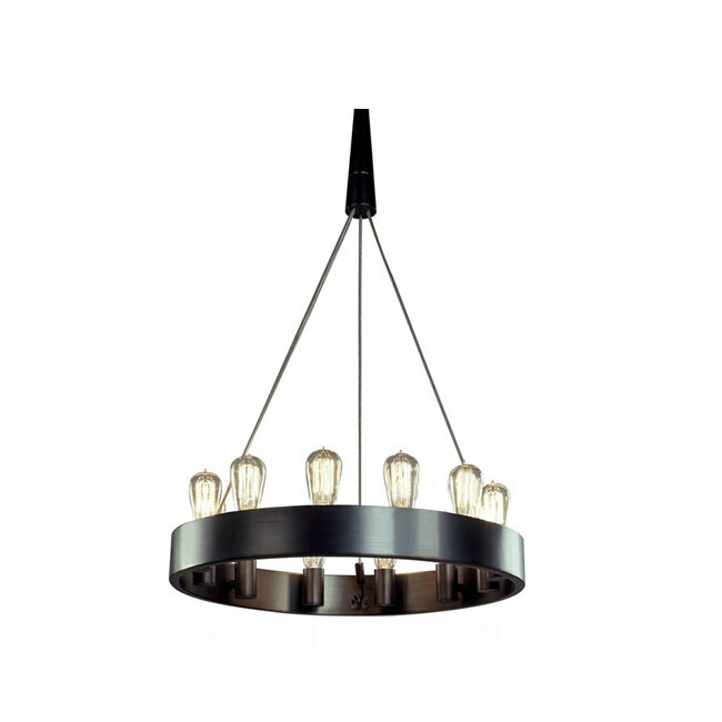 Minimalist Iron Ring Chandelier: Candeliara Iron Ring And 12 Edison Bulbs Chandelier 11549