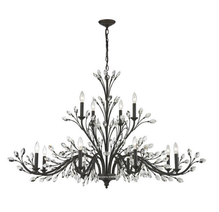 Antique Black Iron And Crystal 4+9 Chandelier 12485