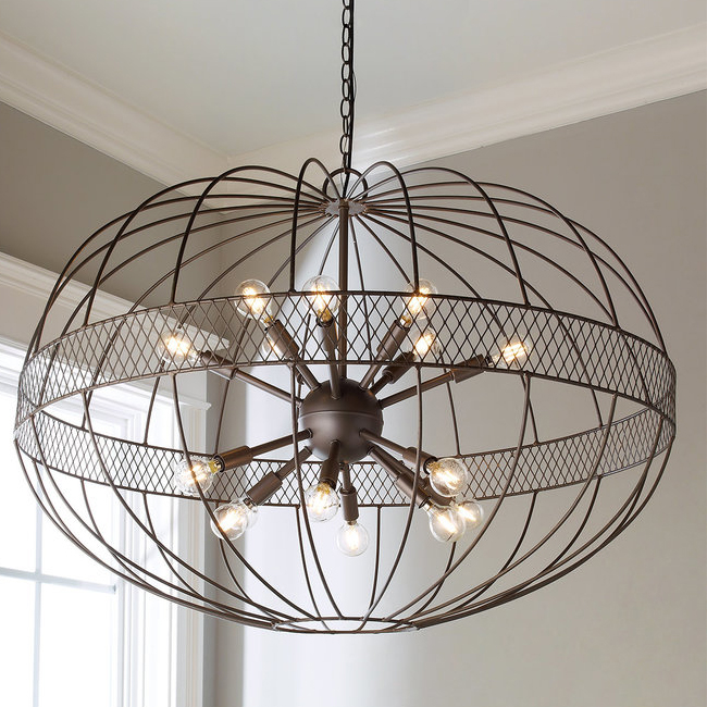 Large Wire Ellipsoid Sputnik Chandelier 16118