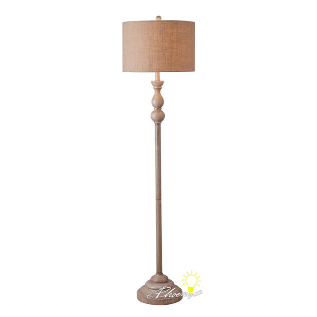 Antique Natrual Apricot Linen Shade Floor Lamp 8596