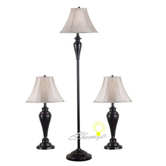 A set of 2 table lamps and 1 Floor Lamp by Metal and Fabric Fini