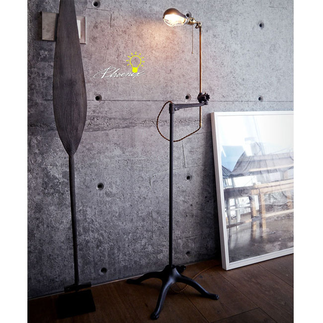 Handmade Antique Copper and Iron Industrial Floor Lamp 8791