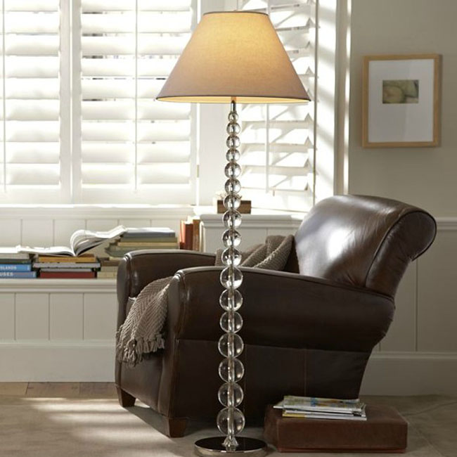 Country Crystal Staff and Flax Shade Floor Lamp 10604