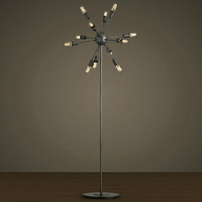 Antique 10 Bulbs Metal Floor Lamp in Baking Finish 10719