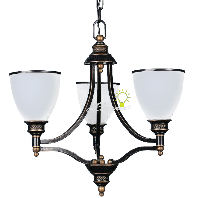 Antique 3 Matte Glass Shades Pendant Lighting 7432