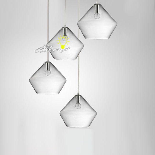 4 Blown Clear Glass Shapes Pendant Lighting 8316