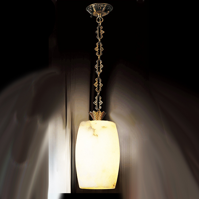 Antique Copper Art and Marble Shade Pendant Lighting 9277