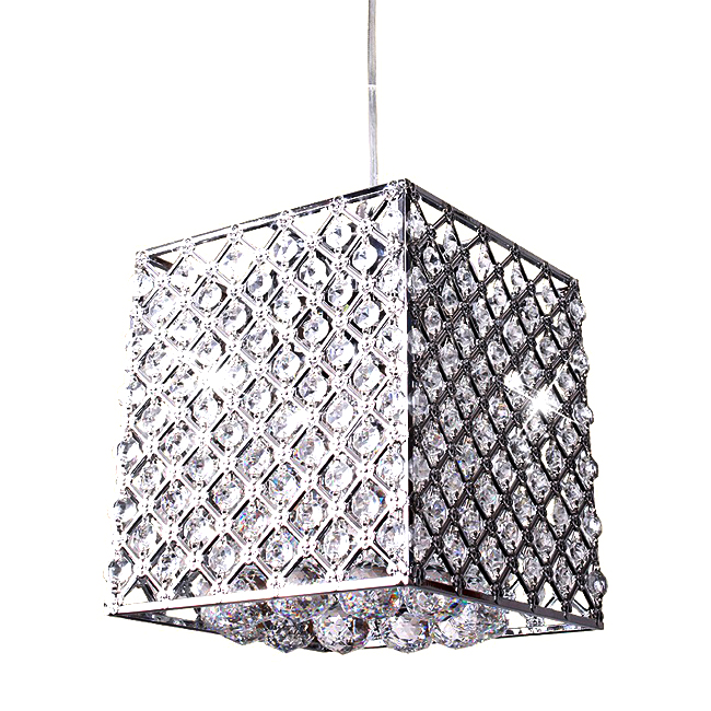 Modern Carved Metal And Crystal Square Pendant Lighting