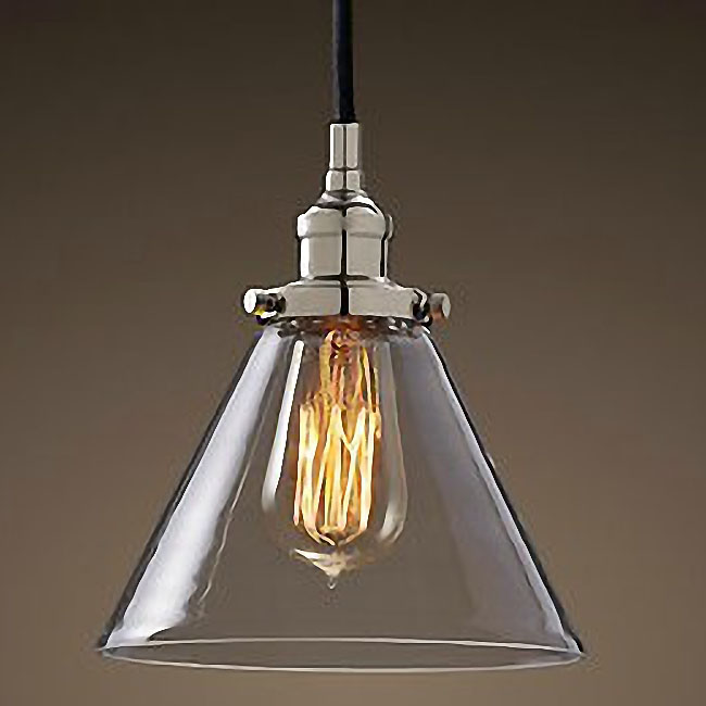 Antique Chrome Cap Glass Pendant Lighting 9468
