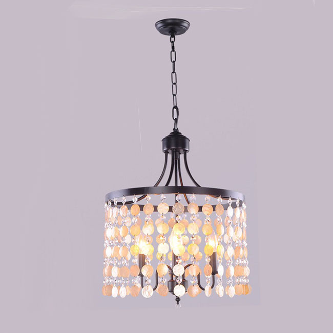 Modern country iron and shell pendant lighting 9794 for Country lighting fixtures for home