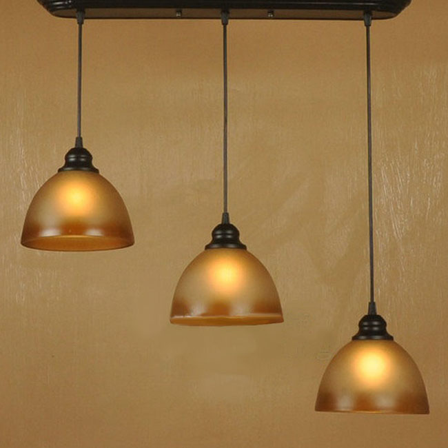 Antique 3 Brown Matte Glass Shades Pendant Lighting 9937