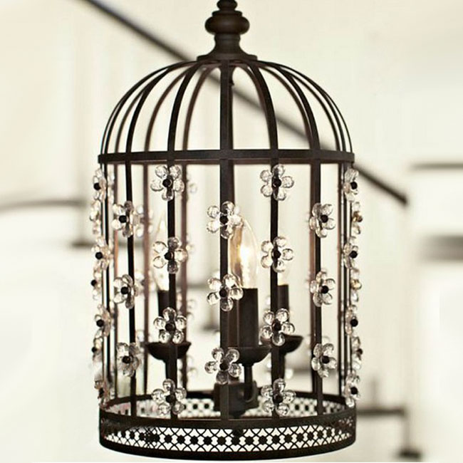 Antique 3 Lighting Birdcage Crystal Pendant Lighting 10011