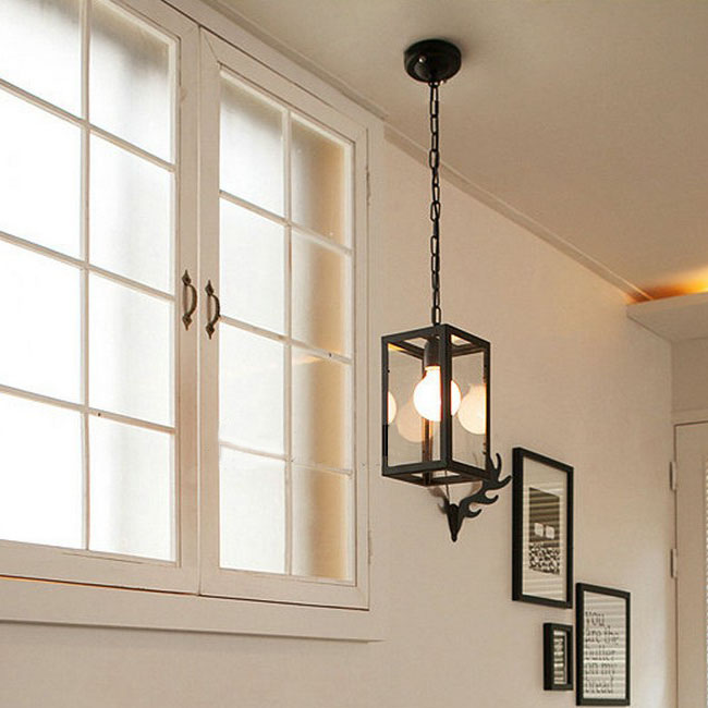 North Square Iron Frame And Glass Shade Pendant Lighting