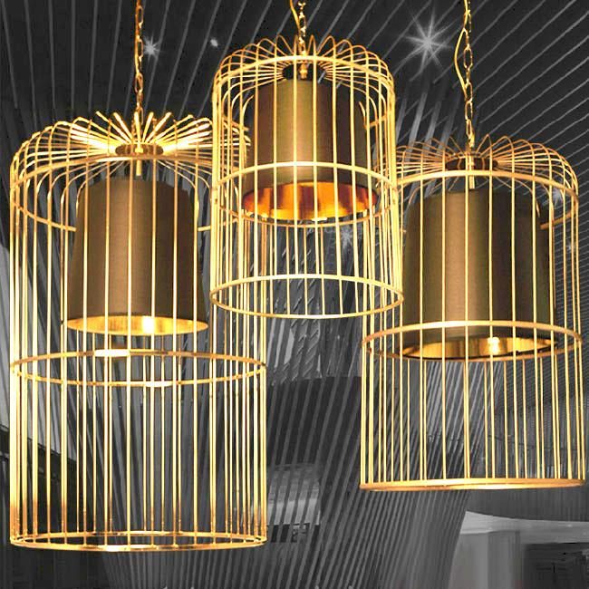 Modern Golden Birdcage Pendant Lighting In Baking Finish