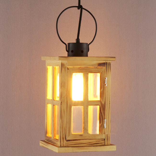 Country Original Wood Square And Glass Shade Pendant